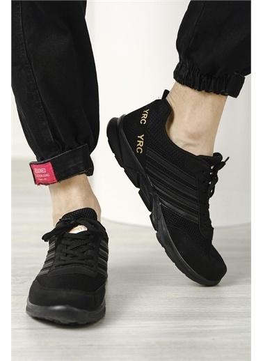 Oksit Aramis Şerit Detaylı Fileli Kalın Taban Unisex Sneaker Siyah
